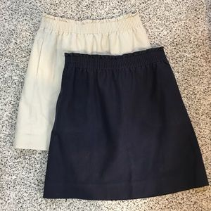 (2) J. CREW khaki & blue elastic waistband skirts